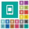 Mobile media stop square flat multi colored icons - Mobile media stop multi colored flat icons on plain square backgrounds. Included white and darker icon variations for hover or active effects.