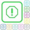 Octagon shaped error sign vivid colored flat icons - Octagon shaped error sign vivid colored flat icons in curved borders on white background