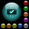 Hardware checked icons in color illuminated glass buttons - Hardware checked icons in color illuminated spherical glass buttons on black background. Can be used to black or dark templates