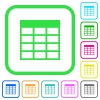 Spreadsheet table vivid colored flat icons in curved borders on white background - Spreadsheet table vivid colored flat icons