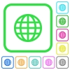Globe vivid colored flat icons - Globe vivid colored flat icons in curved borders on white background