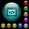 Programming code in software window icons in color illuminated glass buttons - Programming code in software window icons in color illuminated spherical glass buttons on black background. Can be used to black or dark templates