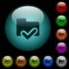 Folder ok icons in color illuminated spherical glass buttons on black background. Can be used to black or dark templates - Folder ok icons in color illuminated glass buttons