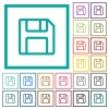 Floppy disk as save symbol flat color icons with quadrant frames - Floppy disk as save symbol flat color icons with quadrant frames on white background