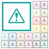 Triangle shaped warning sign flat color icons with quadrant frames - Triangle shaped warning sign flat color icons with quadrant frames on white background