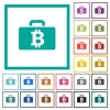 Bitcoin bag flat color icons with quadrant frames - Bitcoin bag flat color icons with quadrant frames on white background