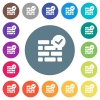 Active firewall flat white icons on round color backgrounds - Active firewall flat white icons on round color backgrounds. 17 background color variations are included.