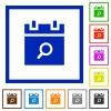 Find schedule item flat framed icons - Find schedule item flat color icons in square frames on white background