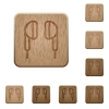 Earphone wooden buttons - Earphone on rounded square carved wooden button styles