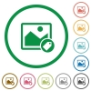 Image tagging flat icons with outlines - Image tagging flat color icons in round outlines on white background