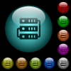 Connected servers icons in color illuminated glass buttons - Connected servers icons in color illuminated spherical glass buttons on black background. Can be used to black or dark templates