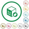 Package labeling flat icons with outlines - Package labeling flat color icons in round outlines on white background