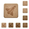 Space shuttle wooden buttons - Space shuttle on rounded square carved wooden button styles