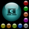 Laptop with Euro sign icons in color illuminated glass buttons - Laptop with Euro sign icons in color illuminated spherical glass buttons on black background. Can be used to black or dark templates