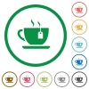 Cup of tea with teabag flat icons with outlines - Cup of tea with teabag flat color icons in round outlines on white background