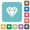 Diamond rounded square flat icons - Diamond white flat icons on color rounded square backgrounds