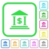 Dollar bank office vivid colored flat icons - Dollar bank office vivid colored flat icons in curved borders on white background