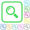 Single magnifier vivid colored flat icons - Single magnifier vivid colored flat icons in curved borders on white background
