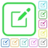 Editbox with pencil vivid colored flat icons - Editbox with pencil vivid colored flat icons in curved borders on white background