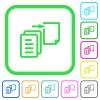 Move file vivid colored flat icons - Move file vivid colored flat icons in curved borders on white background