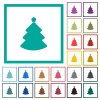 Christmas tree flat color icons with quadrant frames - Christmas tree flat color icons with quadrant frames on white background