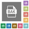 BAK file format square flat icons - BAK file format flat icons on simple color square backgrounds