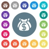 Dollar bags flat white icons on round color backgrounds - Dollar bags flat white icons on round color backgrounds. 17 background color variations are included.