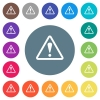 Triangle shaped warning sign flat white icons on round color backgrounds - Triangle shaped warning sign flat white icons on round color backgrounds. 17 background color variations are included.