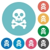 Skull with bones flat white icons on round color backgrounds