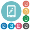 Mobile memo flat round icons - Mobile memo flat white icons on round color backgrounds