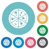Pizza flat round icons - Pizza flat white icons on round color backgrounds