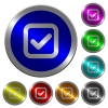 Checkbox luminous coin-like round color buttons - Checkbox icons on round luminous coin-like color steel buttons