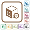 Safe package delivery simple icons - Safe package delivery simple icons in color rounded square frames on white background