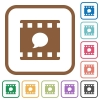 Comment movie simple icons - Comment movie simple icons in color rounded square frames on white background