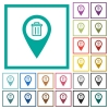 Delete GPS map location flat color icons with quadrant frames - Delete GPS map location flat color icons with quadrant frames on white background