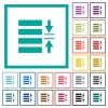 Adjust line spacing flat color icons with quadrant frames - Adjust line spacing flat color icons with quadrant frames on white background