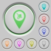 Parcel delivery GPS map location push buttons - Parcel delivery GPS map location color icons on sunk push buttons