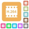 H.264 movie format flat icons on rounded square vivid color backgrounds. - H.264 movie format rounded square flat icons