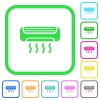 Air conditioner vivid colored flat icons - Air conditioner vivid colored flat icons in curved borders on white background