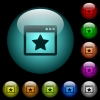 Favorite application icons in color illuminated glass buttons - Favorite application icons in color illuminated spherical glass buttons on black background. Can be used to black or dark templates
