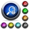 Delete search icons in round glossy buttons with steel frames - Delete search round glossy buttons