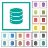Single database flat color icons with quadrant frames - Single database flat color icons with quadrant frames on white background