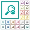 Cloud search flat color icons with quadrant frames - Cloud search flat color icons with quadrant frames on white background
