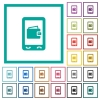 Mobile wallet flat color icons with quadrant frames - Mobile wallet flat color icons with quadrant frames on white background