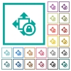 Size lock flat color icons with quadrant frames - Size lock flat color icons with quadrant frames on white background