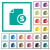 Dollar financial report flat color icons with quadrant frames - Dollar financial report flat color icons with quadrant frames on white background