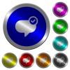 Message sent luminous coin-like round color buttons - Message sent icons on round luminous coin-like color steel buttons