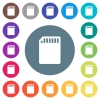 SD memory card flat white icons on round color backgrounds - SD memory card flat white icons on round color backgrounds. 17 background color variations are included.