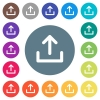 Upload symbol flat white icons on round color backgrounds - Upload symbol flat white icons on round color backgrounds. 17 background color variations are included.