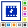 Pin movie flat framed icons - Pin movie flat color icons in square frames on white background